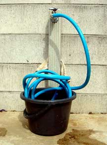 storing a garden hose incorrectly