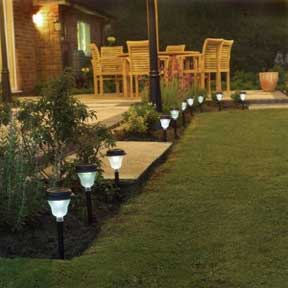 garden lights in the landscape