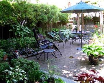 landscaped back yard and patio