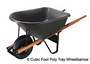 contractors 6 cubic foot poly tray wheelbarrow